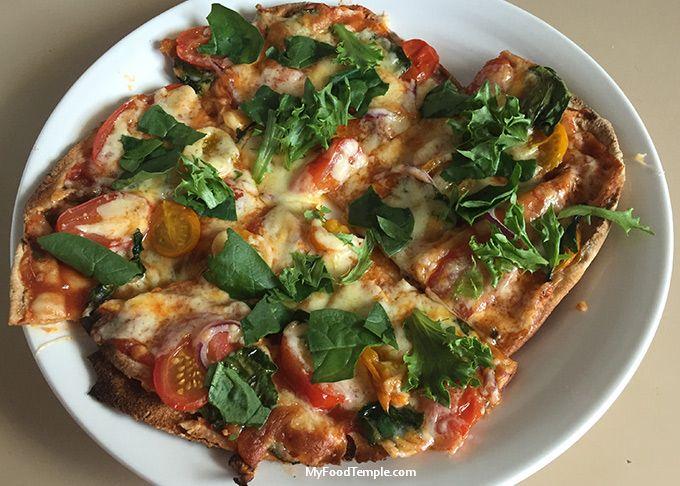 Vegan pizza on pita bread