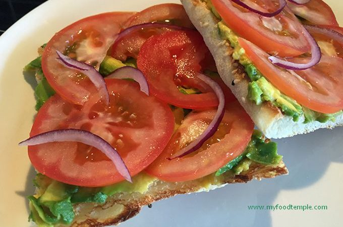Avocado and Tomato on Toasted Turkish Bread